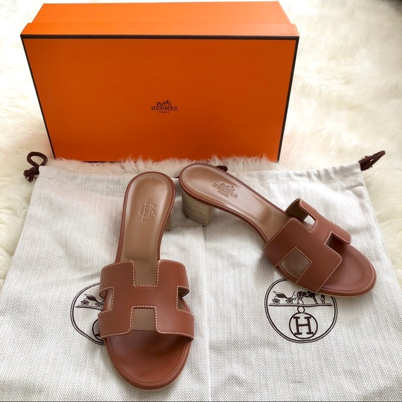 f97825e36741 Hermes Shoes | Herms Gold Oasis Sandals W Stacked Heel Sz 36 | Poshmark